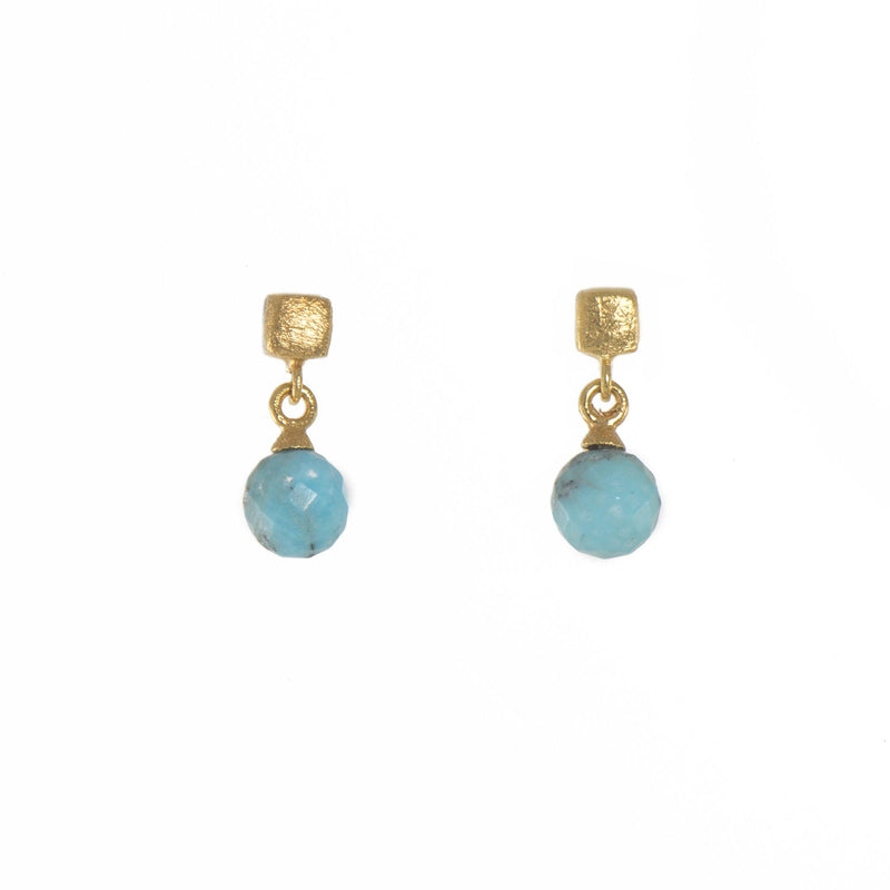 E021-1820 EARRINGS- CUBE ROUND FACETED TURQUOISE FAIR TRADE GOLD VERMEIL