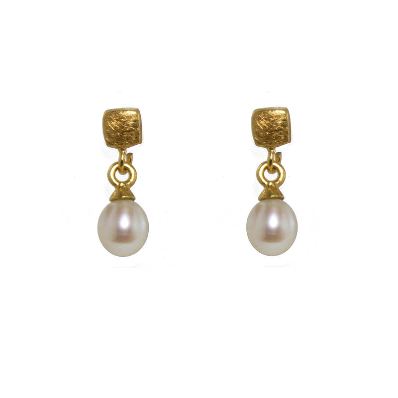 E021-P2 EARRINGS- CUBE POST EARRINGS WITH WHITE PEARL FAIR TRADE 24K GOLD VERMEIL