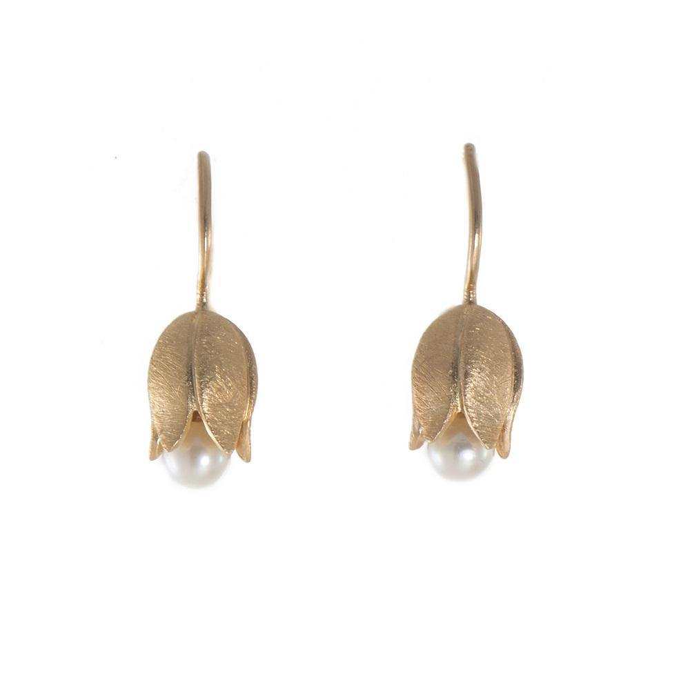 E02 EARRINGS- FLOWER PEARL FAIR TRADE 24K GOLD VERMEIL