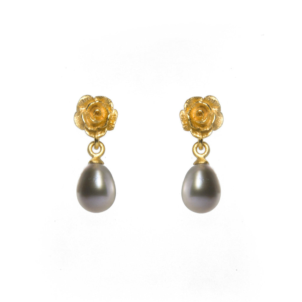 E03-020 EARRINGS- ROSE & GREY PEARL 24K GOLD VERMEIL