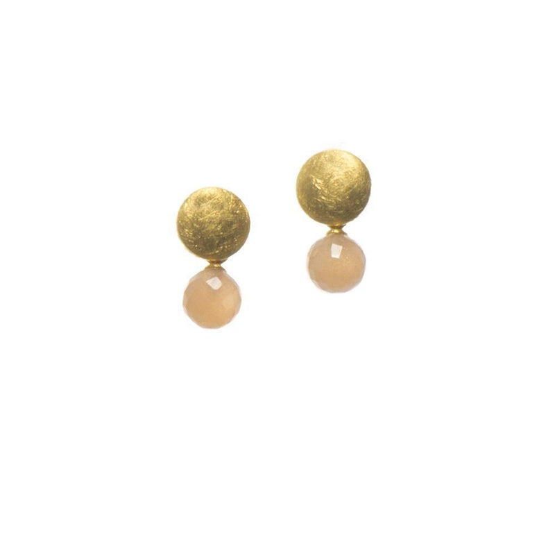 E032-152 EARRINGS- MOON ROUND FACETED PEACH MOONSTONE FAIR TRADE 24K GOLD VERMEIL