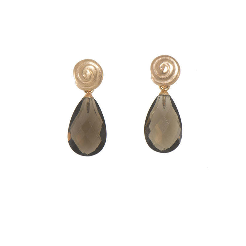 E04-01 EARRINGS- GRATITUDE SWIRL FACETED SMOKY QUARTZ FAIR TRADE 24K GOLD VERMEIL