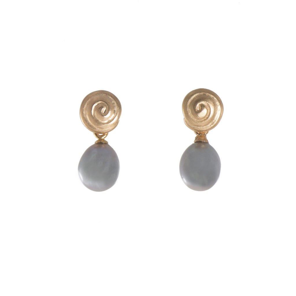 E04-02R EARRINGS- GRATITUDE SWIRL GREY PEARL FAIR TRADE 24K GOLD VERMEIL