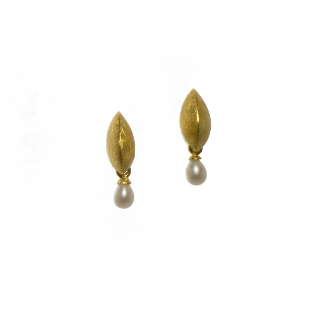 E050-P2 EARRINGS- LEAF WHITE PEARL FAIR TRADE 24K GOLD VERMEIL
