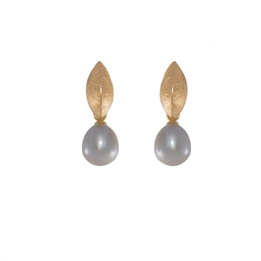 E050-P3 EARRINGS- LEAF GREY PEARL FAIR TRADE 24K GOLD VERMEIL