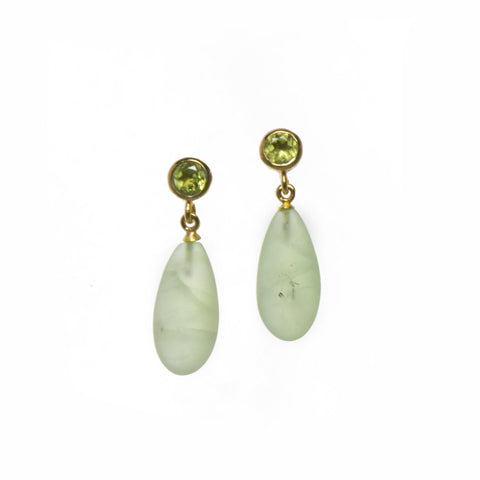 FACETED PERIDOT AND MATTE PREHNITE EARRINGS FAIR TRADE 24K GOLD VERMEIL - Joyla Jewelry