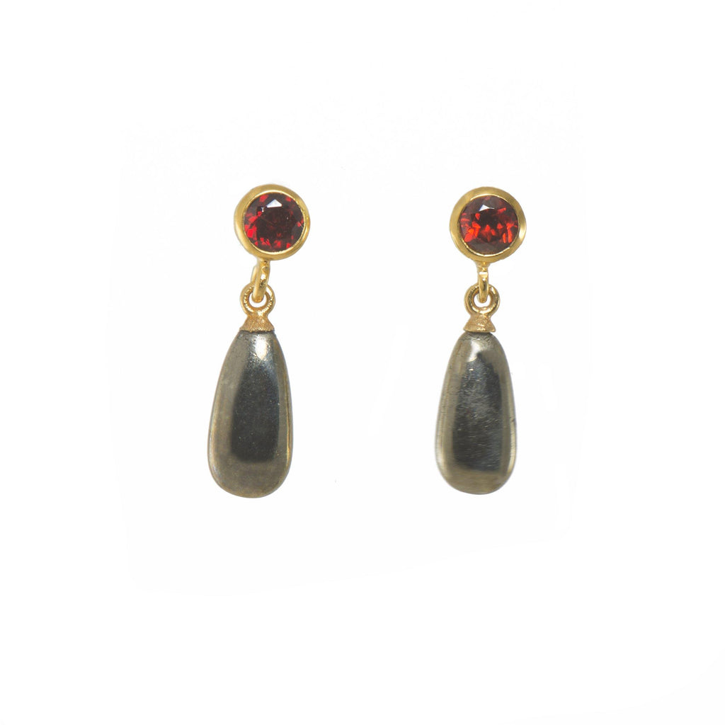 FACETED GARNET & PYRITE DROP(E0506-021)