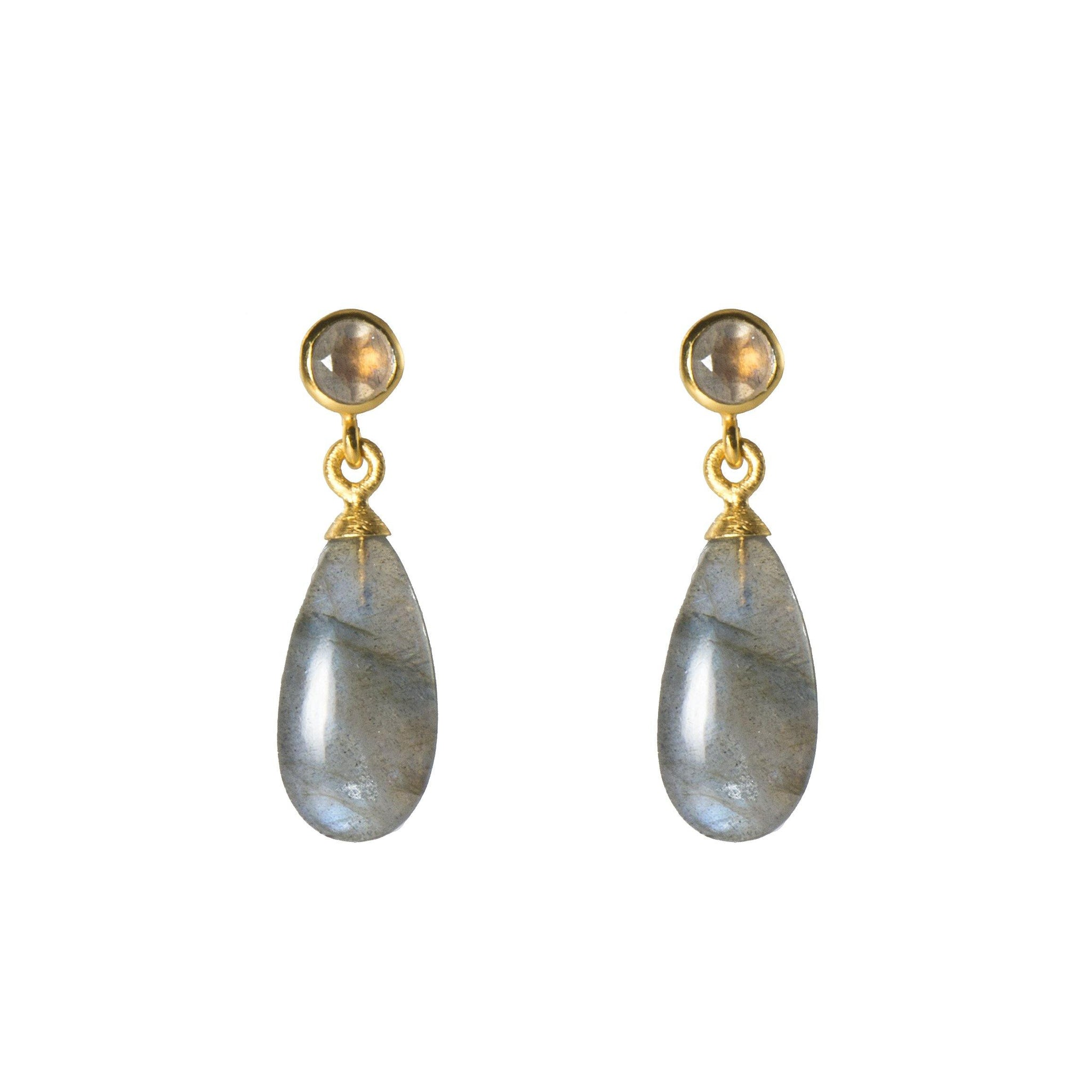 FACETED LABRADORITE AND POLISHED LABRADORITE EARRINGS FAIR TRADE 24K GOLD VERMEIL - Joyla Jewelry