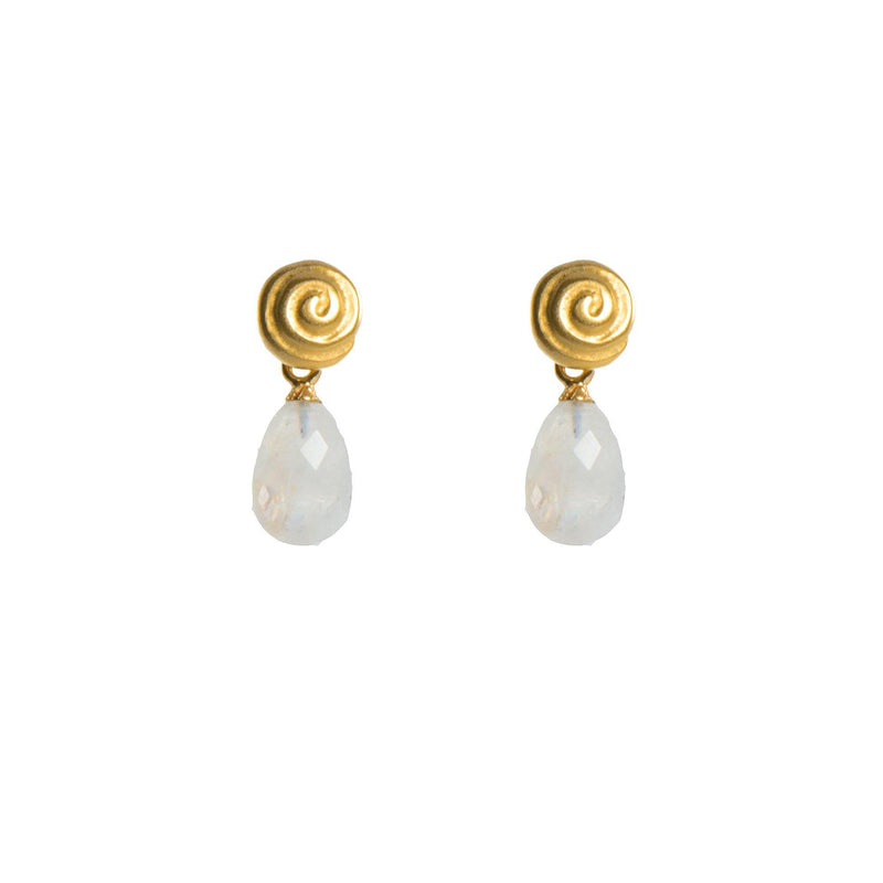 E1028-070 EARRINGS- GRATITUDE SWIRL & RAINBOW MOONSTONE FAIR TRADE 24K GOLD VERMEIL