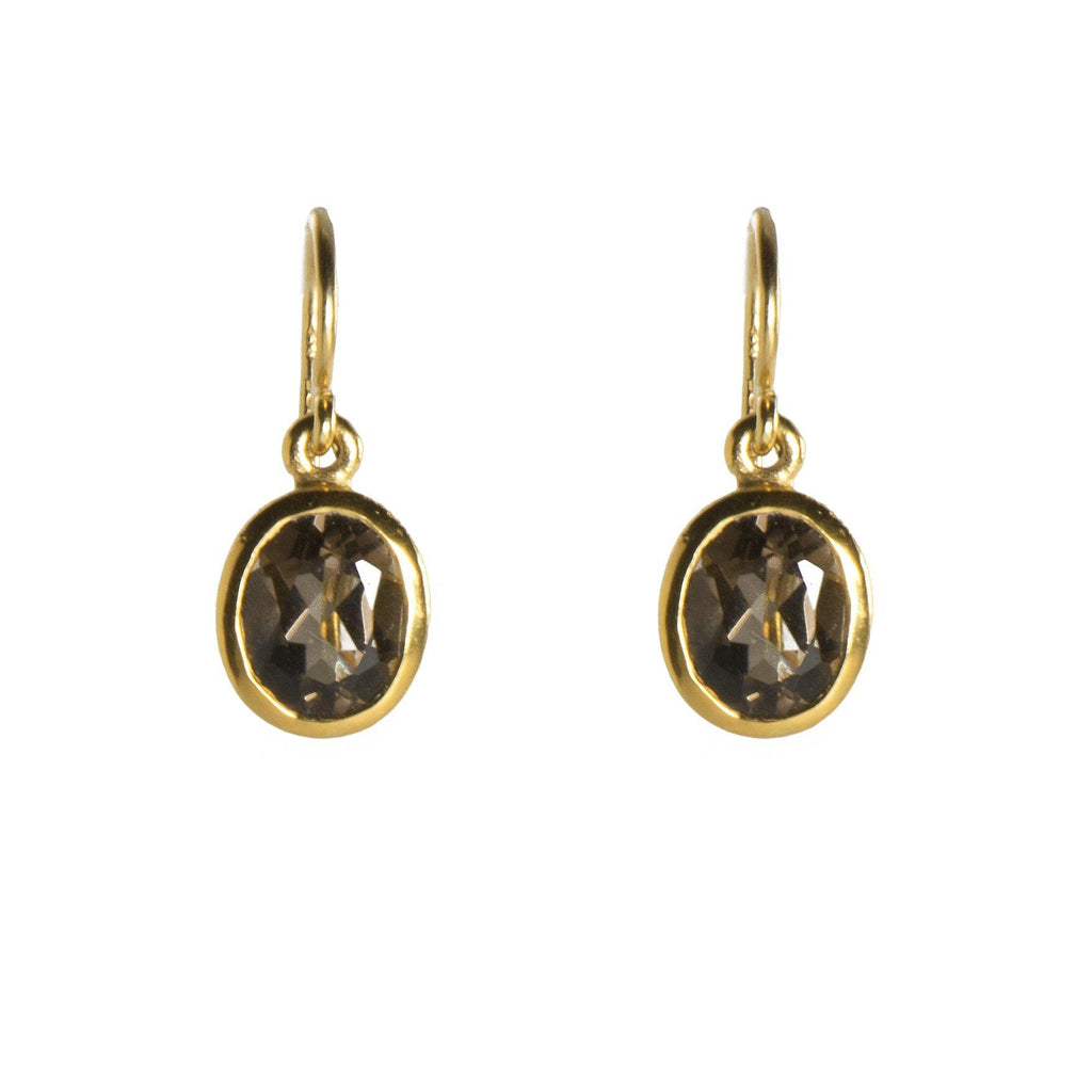 E25-1120 EARRINGS- SMOKY QUARTZ FAIR TRADE 24K GOLD VERMEIL