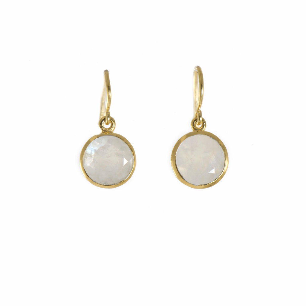 E25-4100 EARRINGS- FACETED ROUND RAINBOW MOONSTONE FAIR TRADE 24K GOLD VERMEIL