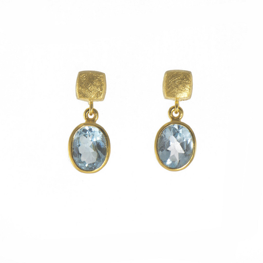 E25-7020 EARRINGS- CUBE OVAL BLUE TOPAZ FAIR TRADE 24K GOLD VERMEIL