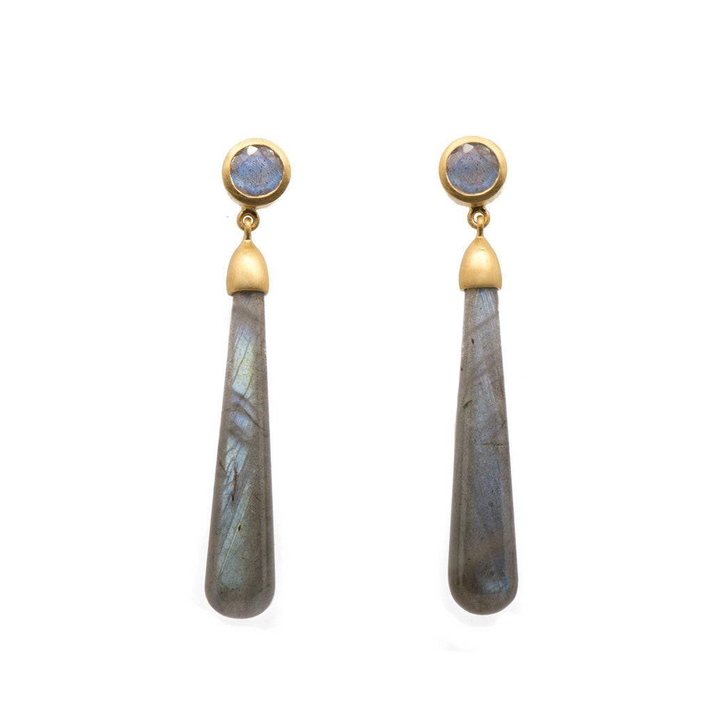 E3VLAB SIGNATURE LONG DROP CABOCHON EARRINGS IN LABRADORITE - Joyla Jewelry