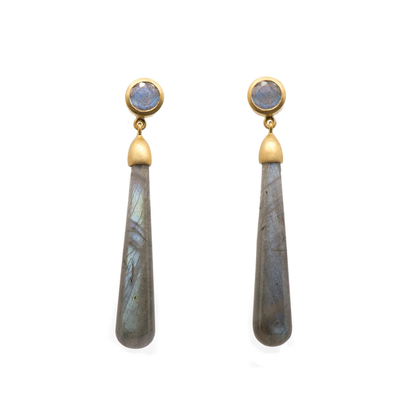 E3VLAB SIGNATURE LONG DROP CABOCHON EARRINGS IN LABRADORITE