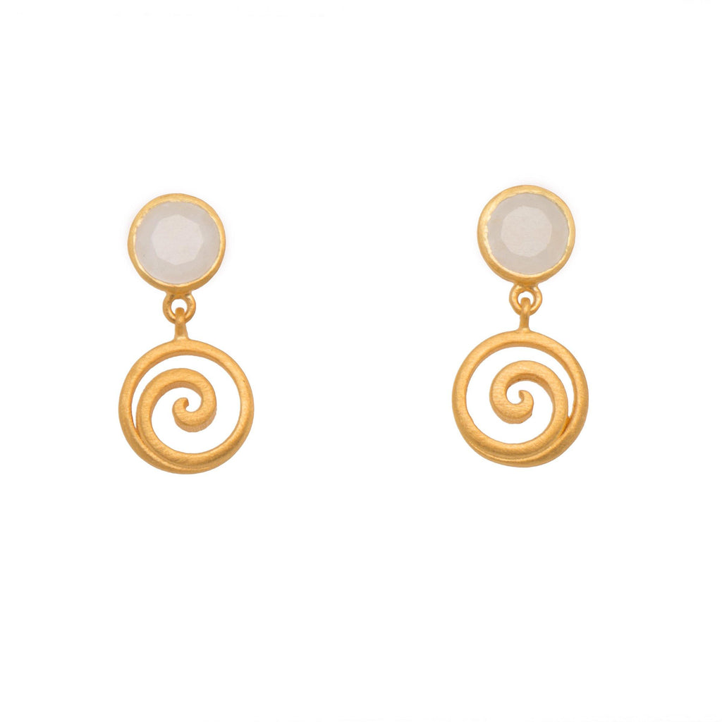 GRATITUDE SWIRL RAINBOW MOONSTONE EARRINGS 24K GOLD VERMEIL - Joyla Jewelry