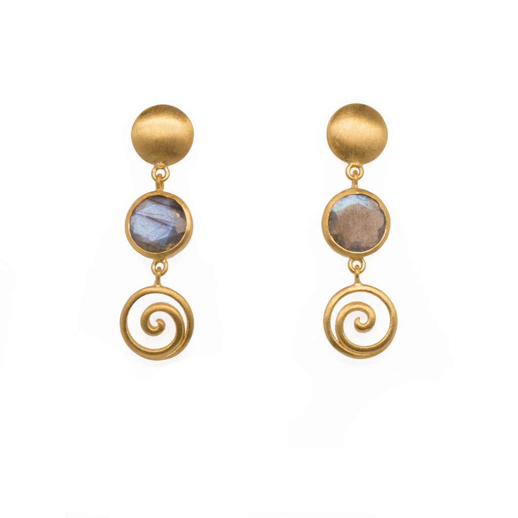 GRATITUDE SWIRL AND MOON EARRINGS