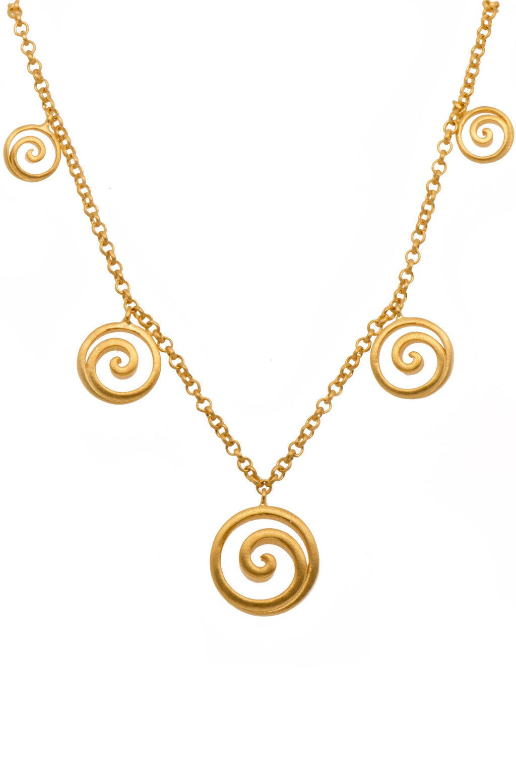 GRN4V NECKLACE- GRATITUDE GRADUATED OPEN SWIRL 24K GOLD VERMIL - Joyla Jewelry