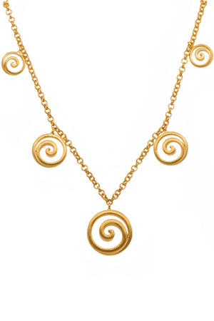 GRN4V NECKLACE- GRATITUDE GRADUATED OPEN SWIRL 24K GOLD VERMIL