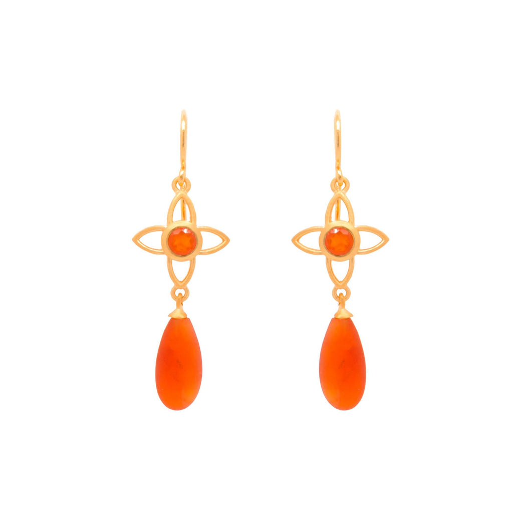 JOYE1DMWCAR EARRINGS-JOY FLOWER 15MM WITH MATTE CARNELIAN DROP WIRE 24K GOLD VERMEIL
