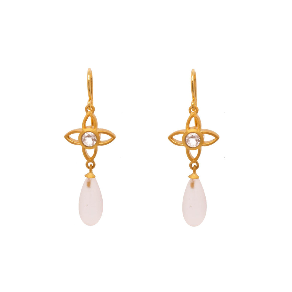 JOYE1DMWRQ EARRINGS- JOY FLOWER 15MM WITH MATTE ROSE QUARTZ DROP 24K GOLD VERMEIL