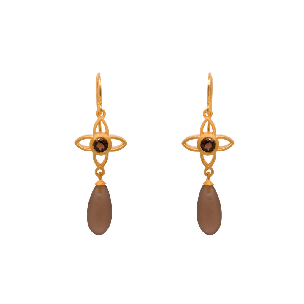 JOYE1DMWSQ EARRINGS- JOY FLOWER 15MM WITH MATTE SMOKY QUARTZ DROP 24K GOLD VERMEIL