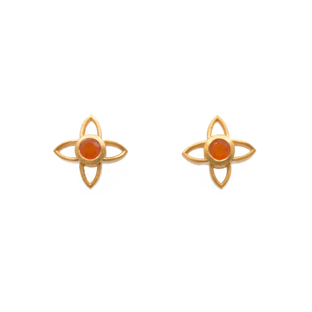 JOYE1PCAR EARRINGS- JOY FLOWER 15MM CARNELIAN POST 24K GOLD VERMEIL