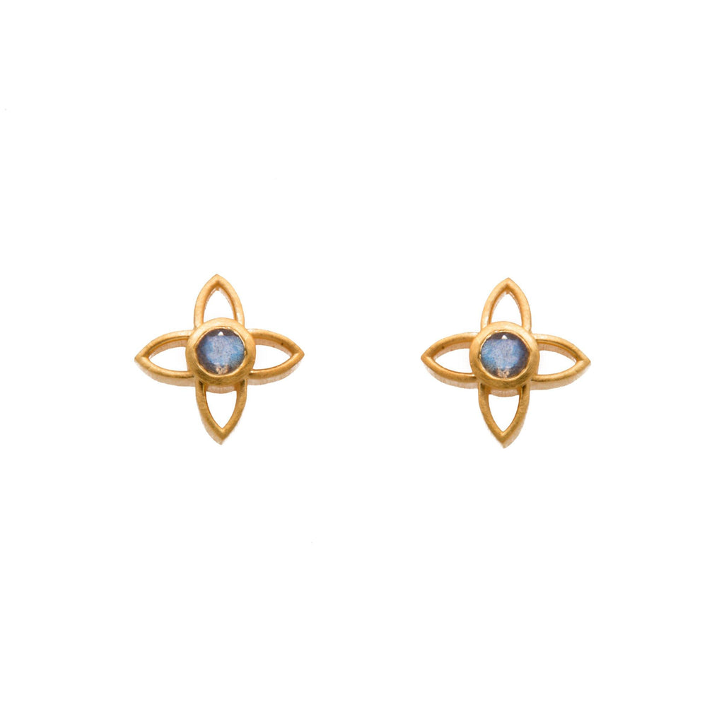 JOYE1PLAB EARRINGS- JOY FLOWER 15MM LABRODORITE POST 24K GOLD VERMEIL