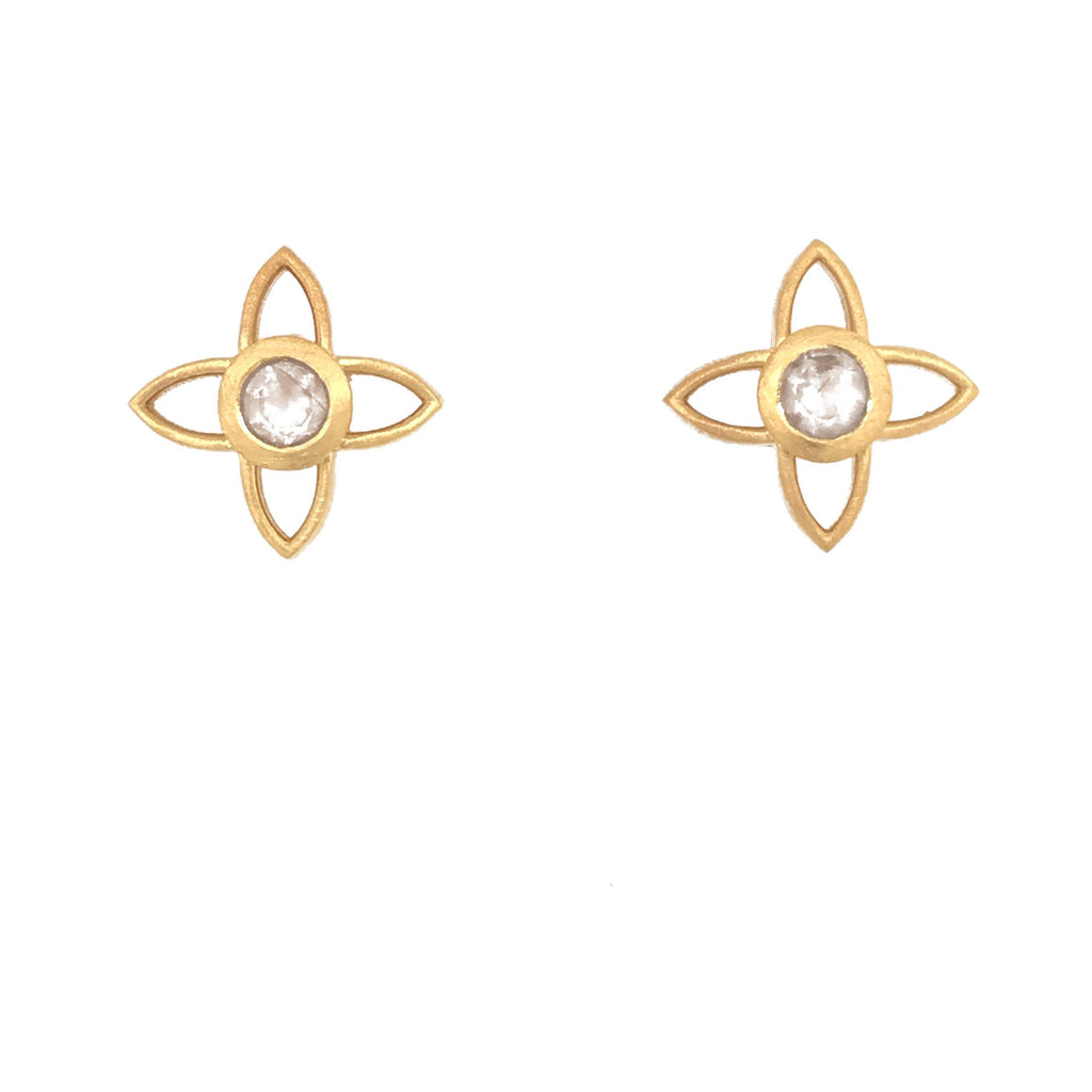 JOYE1PRM EARRINGS- JOY FLOWER 15MM RAINBOW MOONSTONE POST 24K GOLD VERMEIL