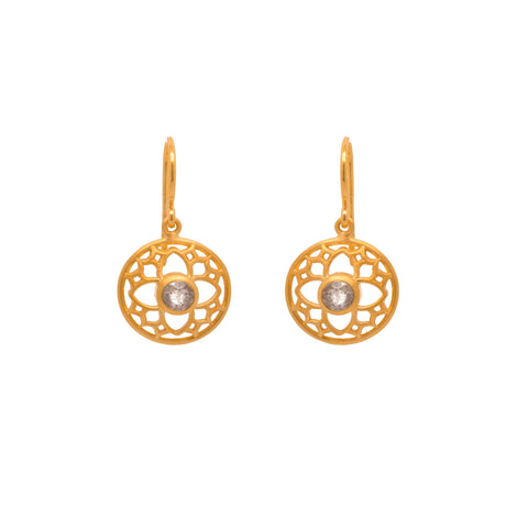 JOYFUL CIRCLE EARRINGS LABRODORITE WIRE 24K GOLD VERMEIL - Joyla Jewelry
