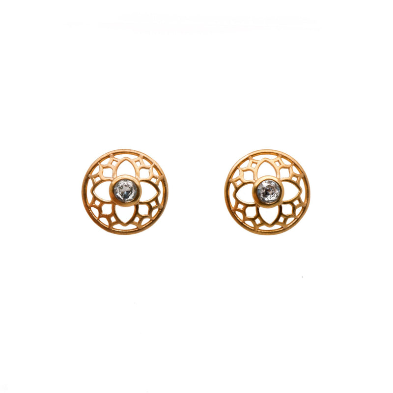 JOYFULE1PBT EARRINGS- JOYFUL CIRCLE BLUE TOPAZ POST 24K GOLD VERMEIL