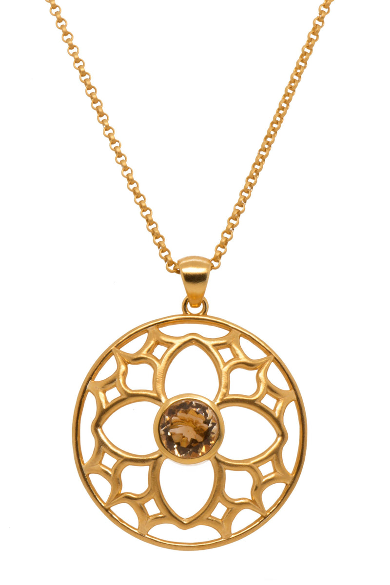 JOYFULP1CT PENDANT- JOYFUL CIRCLE 40MM CITRINE 24K GOLD VERMEIL