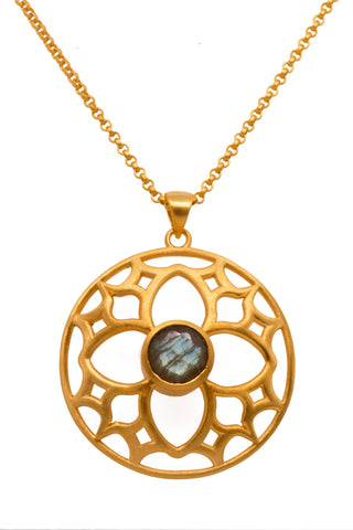 JOYFUL CIRCLE PENDANT 40MM LABRODORITE 24K GOLD VERMEIL - Joyla Jewelry
