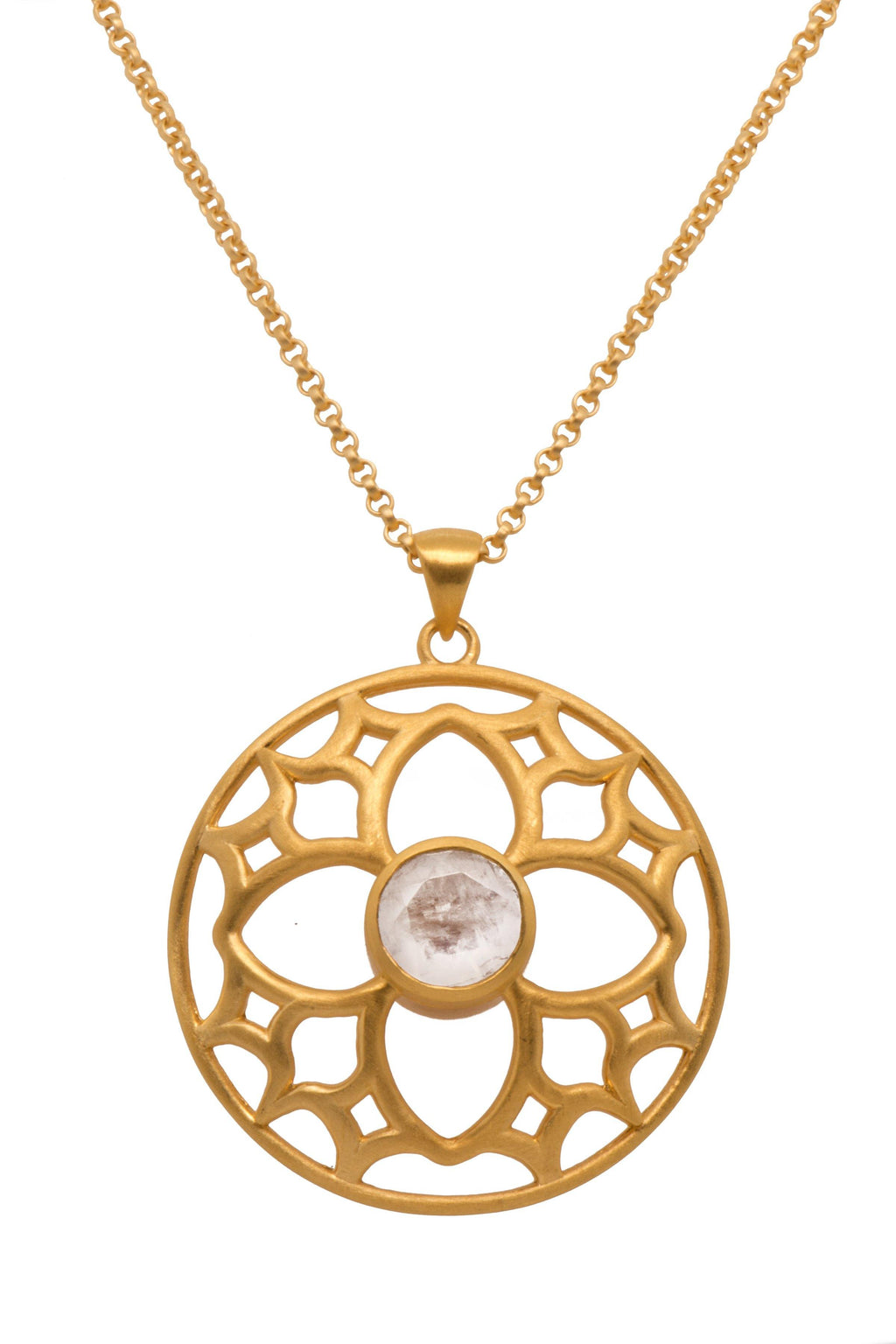 JOYFULP1RM PENDANT- JOYFUL CIRCLE 40MM RAINBOW MOONSTONE 24K GOLD VERMEIL