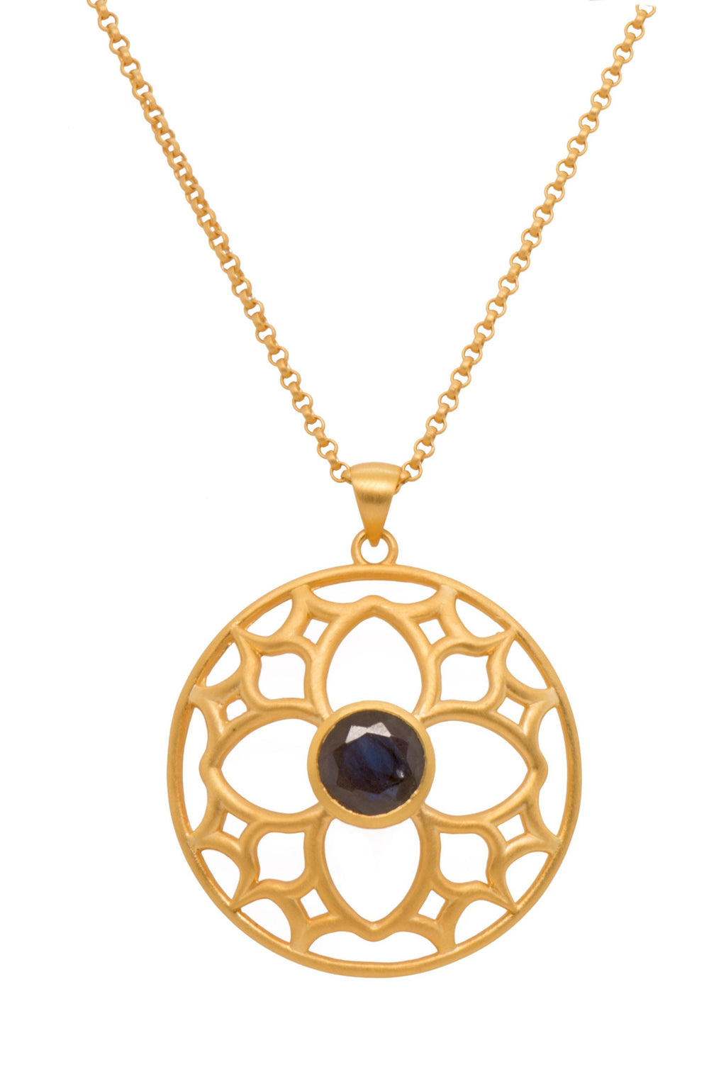 JOYFULP1SQ PENDANT- JOYFUL CIRCLE 40MM SMOKY QUARTZ 24K GOLD VERMEIL