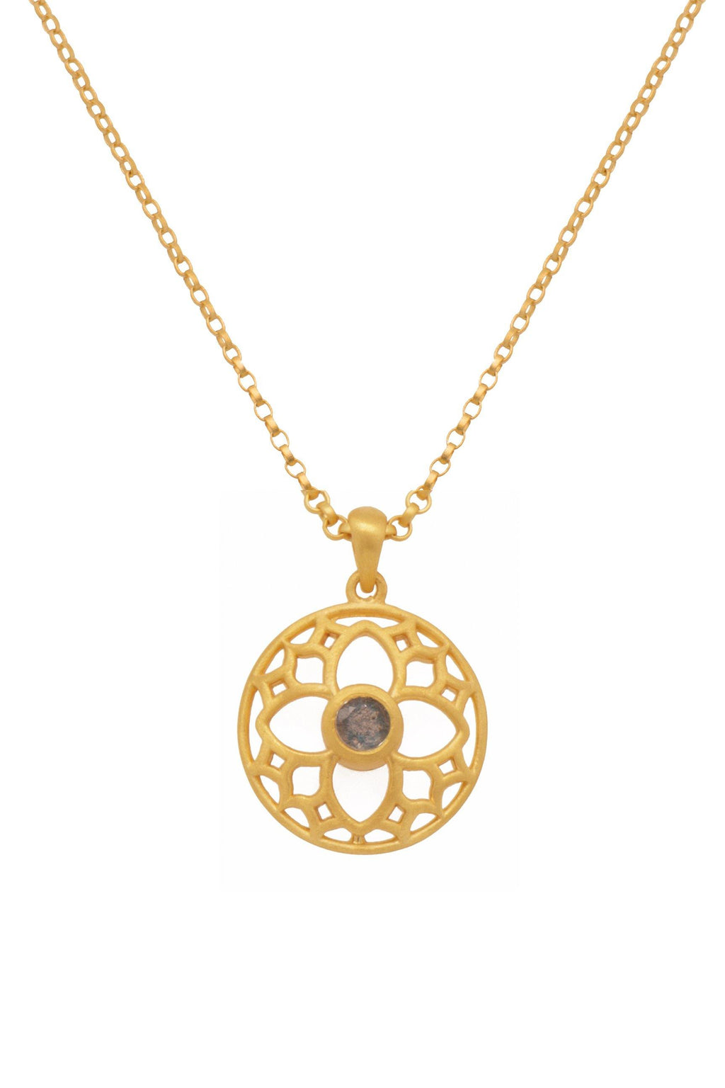 JOYFULP2LAB PENDANT- JOYFUL CIRCLE 20MM LABRODORITE 24K GOLD VERMEIL