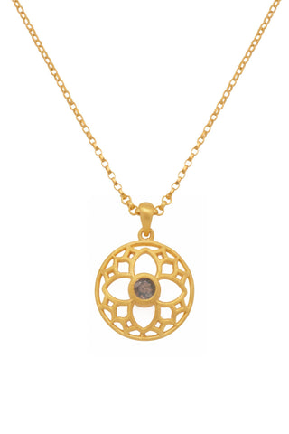 JOYFUL CIRCLE PENDANT 20MM LABRODORITE 24K GOLD VERMEIL - Joyla Jewelry