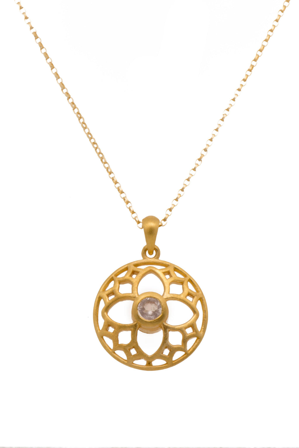 JOYFULP2RQ PENDANT- JOYFUL CIRCLE SMALL ROSE QUARTZ 24K GOLD VERMEIL