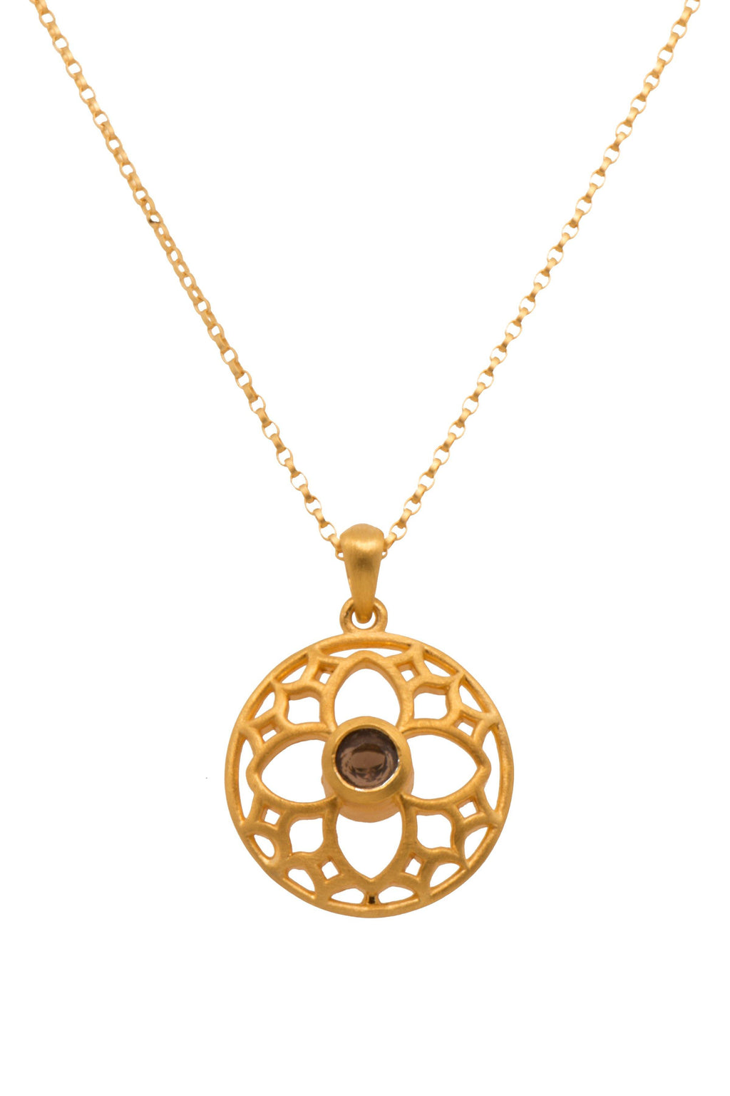 JOYFULP2SQ PENDANT- JOYFUL CIRCLE SMALL SMOKY QUARTZ 24K GOLD VERMEIL