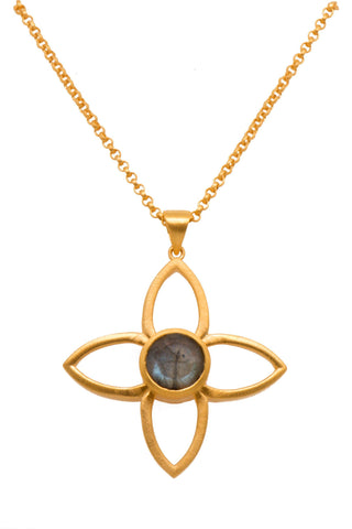 JOY FLOWER PENDANT 40MM LABRODORITE 24K GOLD VERMEIL - Joyla Jewelry
