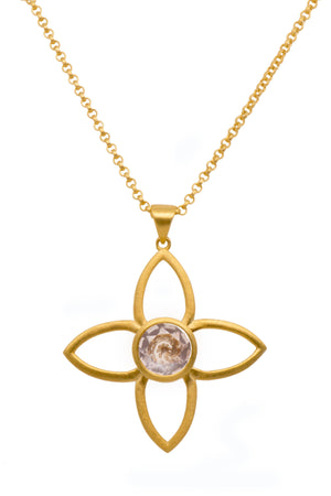 JOYP1RQ PENDANT- JOY FLOWER 40MM ROSE QUARTZ 24K GOLD VERMEIL