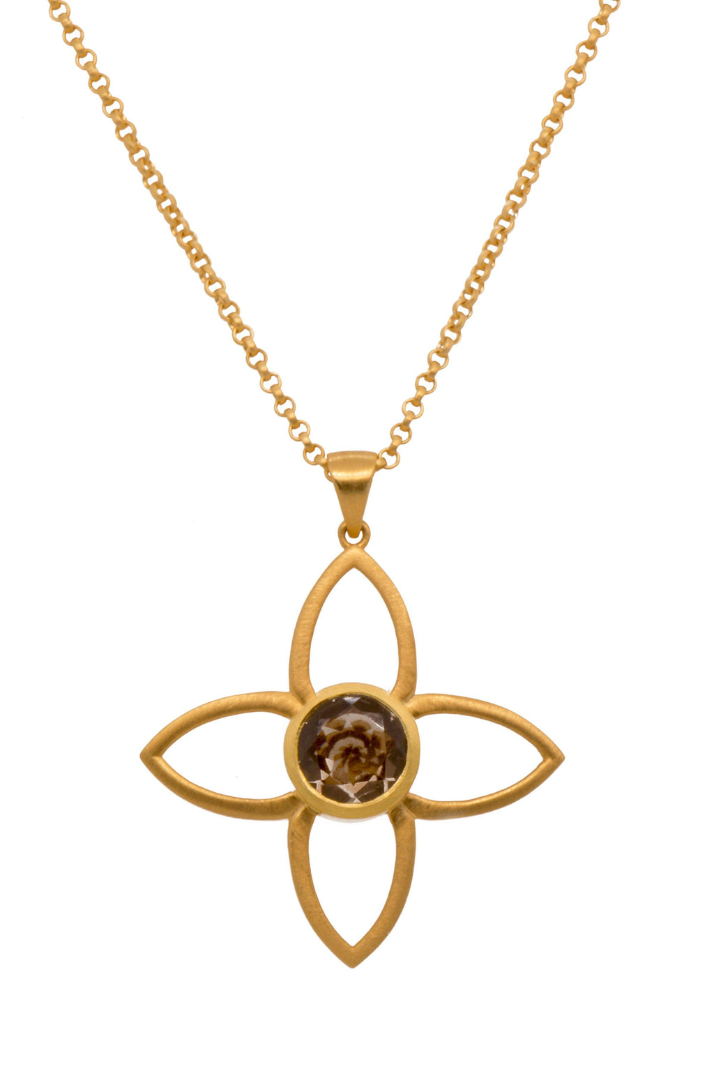 JOYP1SQ PENDANT- JOY FLOWER 40MM SMOKY QUARTZ 24K GOLD VERMEIL