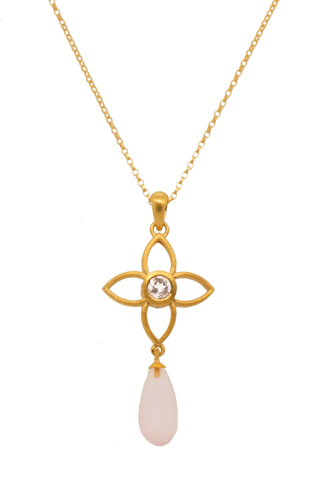 JOYP2DMRQ PENDANT- JOY FLOWER 20MM WITH DROP ROSE QUARTZ MATTE 24K GOLD VERMEIL