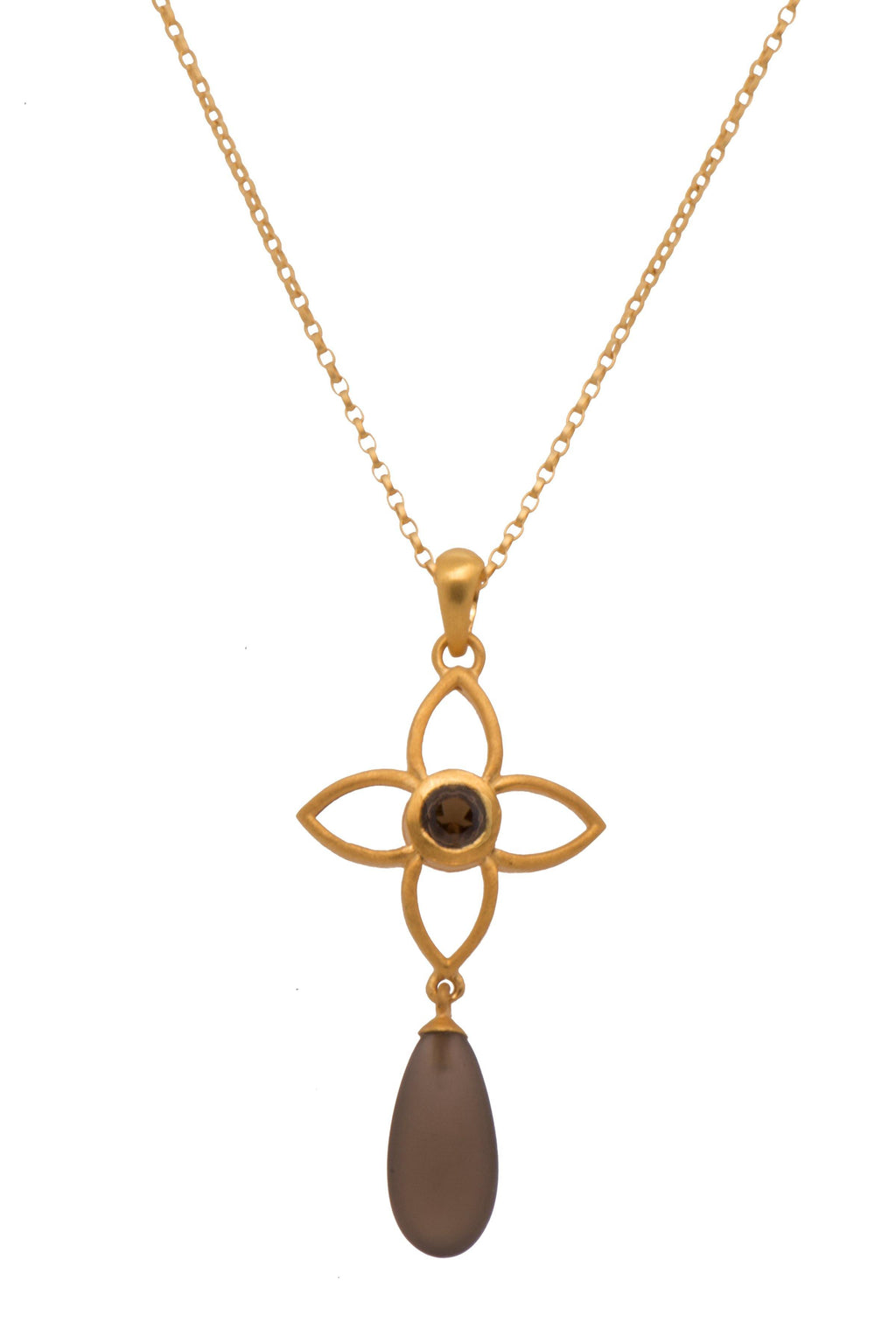 JOYP2DMSQ PENDANT- JOY FLOWER 20MM WITH DROP SMOKY QUARTZ MATTE 24K GOLD VERMEIL