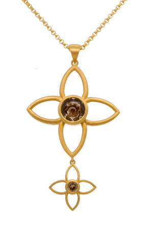 JOYP3SQ PENDANT- JOY FLOWER DOUBLE 40MM AND 20MM SMOKY QUARTZ 24K GOLD VERMEIL