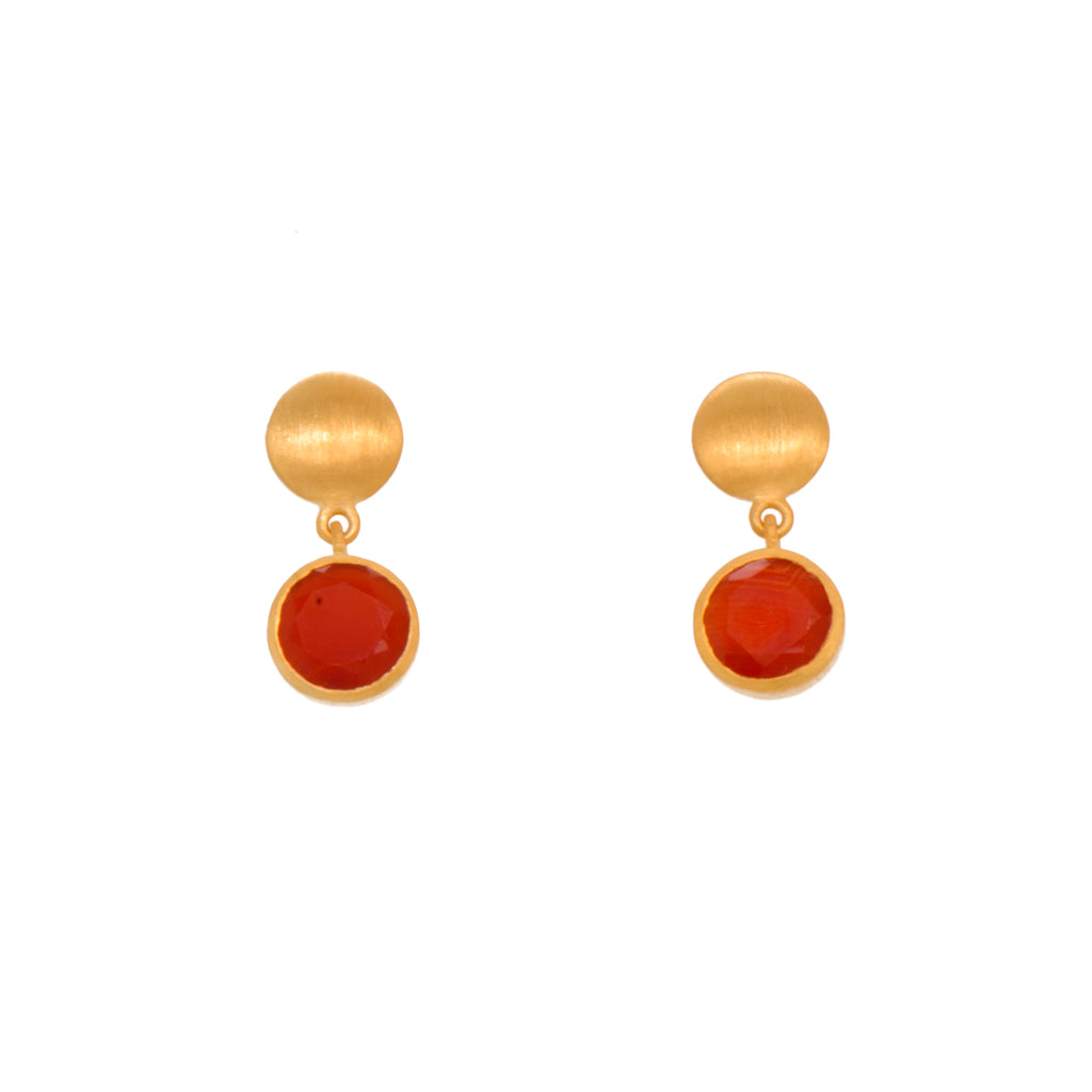MOON BEZEL FACETED CARNELIAN EARRINGS 24K GOLD VERMEIL - Joyla Jewelry