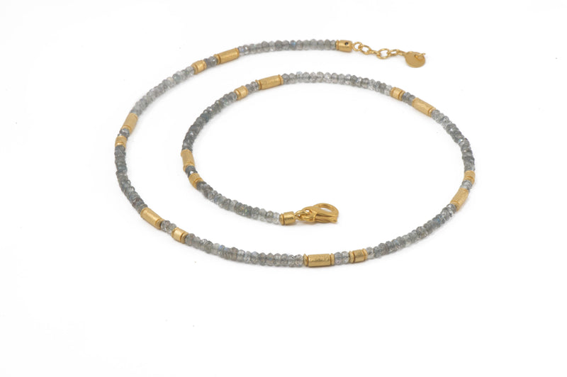 N03-0901 NECKLACE- 3MM LABRADORITE FAIR TRADE 24K GOLD VERMEIL
