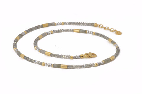 LABRADORITE & GREY PEARL NECKLACE 3MM FAIR TRADE 24K GOLD VERMEIL - Joyla Jewelry