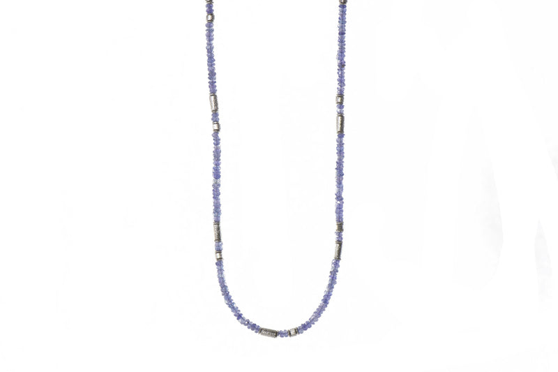 N03-1700 NECKLACE- 3MM TANZANITE RHODIUM PLATED SILVER