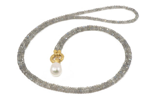 "N031-P01 NECKLACE- 3MM LABRADORITE 31.5"" WHITE PEARL PENDANT 24K GOLD VERMEIL"