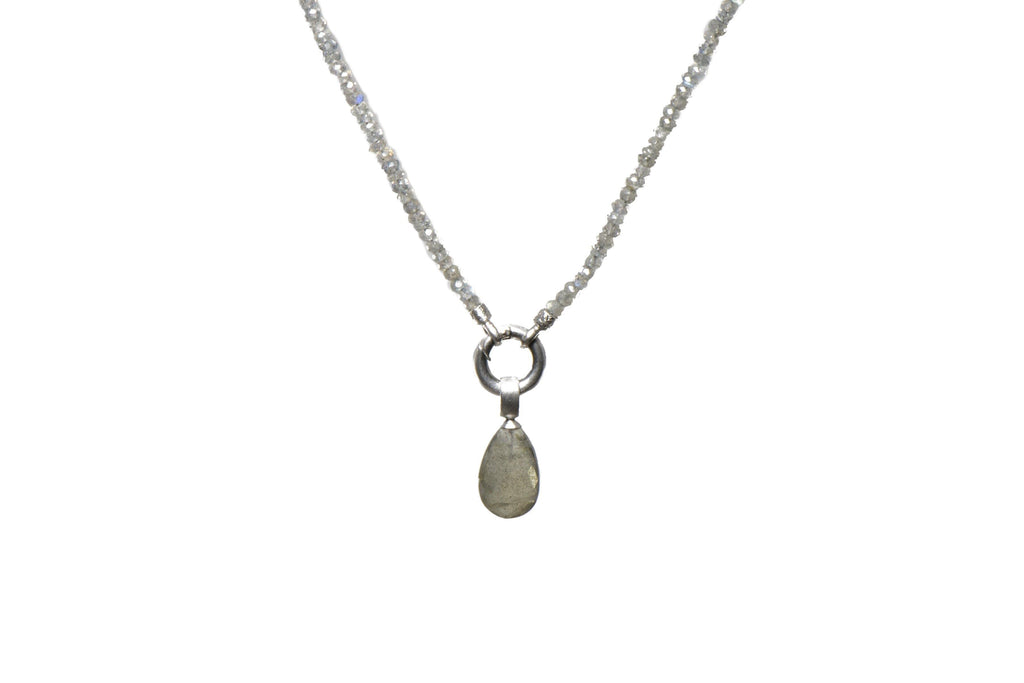 "N031-0901 NECKLACE- 3MM LABRADORITE 31.5"" LABRADORITE PENDANT RHODIUM PLATED SILVER"